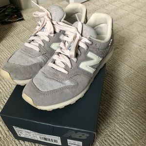New Balance X J Crew 696 Pink Gray Sneakers